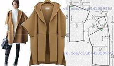 Пальто-пончо прямого силуэта, без подклада, с капюшоном и короткими цельнокроеными рукавами, выкройка на размеры 40/42, 44, 46/48 (рос.).