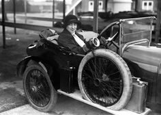 This is Violet Cordery in 1930. She won multiple races in her humble little 2.5 litre Invicta and she had to be talked out of racing the 4.5 litre version of the car in reverse around Brooklands – just to see if she could. A year earlier in 1929 Invicta hired Violet and her sister to drive a total distance of 30,000 miles around the track at an average speed of 61.57mph – to prove that the car was reliable.