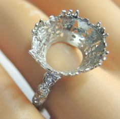 Antique Diamond Engagement Ring Setting Mounting Mount Platinum Hold 15MM D-.45  #EngagementRingSettingWithDiamonds