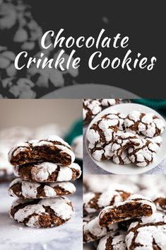 This Chocolate Crinkle Cookies recipe is a holiday family favorite- they're deliciously chewy, chocolate cookies that are super easy to make. Fudge Recipes, Beef Recipes, Baking Recipes, Cookie Recipes, Chocolate Crinkle Cookies, Chocolate Crinkles, Frozen Chocolate, Chocolate Desserts, Allrecipes Recipe