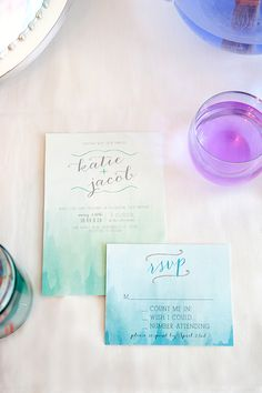 watercolor wedding invites designed by Summer Raine  http://www.weddingchicks.com/2013/12/30/watercolor-wedding-ideas/