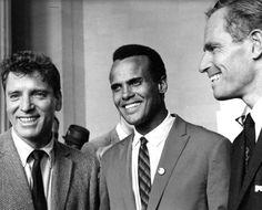 Burt Lancaster, Harry Belafonte and Charlton Heston at The March on Washington, 1963