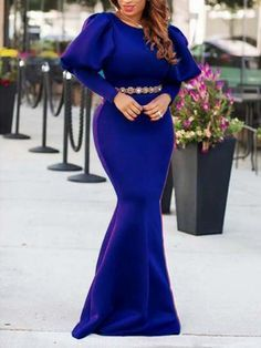 Royal Blue Draped Lantern Sleeve Mermaid Scuba Banquet Prom Party Maxi Dress #Sum212481 | Sumchic Lovely Dresses, Elegant Dresses, Dinner Gowns, Banquet Dresses, Latest African Fashion Dresses, Royal Blue Dresses, Classy Dress, African Dress, Prom Party