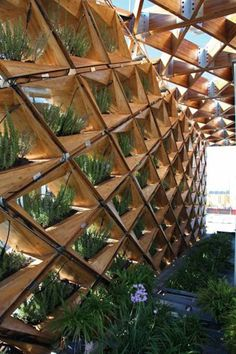 Mixed use of timber and greenery.