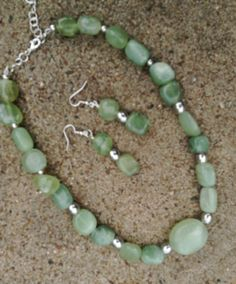 Chunky New Jade with Silver Necklace and by BeriMadeJewelry, $36.00