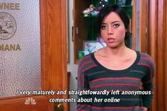 """April Ludgate Quotes From """"Parks And Recreation"""" April Ludgate Quotes, Parks And Rec Quotes, Tv Quotes, Funny Quotes, Parcs And Rec, Janet Snakehole, Candle In The Wind, Aubrey Plaza, Celebration Gif"""