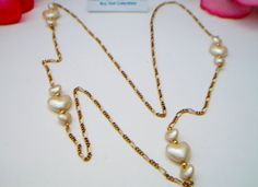 pearlized heart station necklace triple heart by ALEXLITTLETHINGS, $9.99