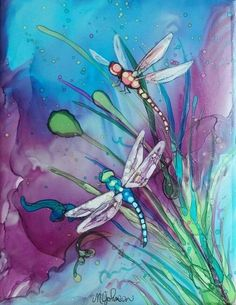 Alcohol ink dragonfly painting Megan Johnson