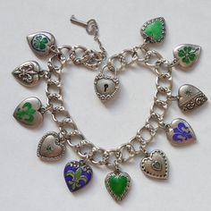 Victorian Sterling Silver Puffy Heart Charm Bracelet – Cobalt Blues and Spring Greens..