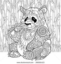 Zentangle stylized cartoon panda sitting among bamboo stems. Sketch for adult antistress coloring page. Hand drawn doodle, zentangle, floral design elements for coloring book. - stock vector