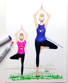 Mom and me illustration Yoga besties art by RongrongIllustration