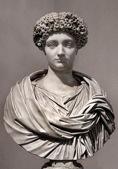 Roman marble portrait bust of Julia, daughter of emperor Titus, late 1st century AD. National Roman Museum in Palazzo Altemps, Rome.