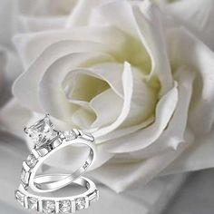 Princess Bridal Engagement Ring Set