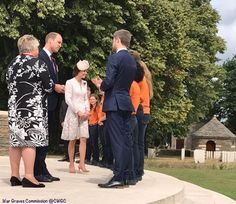 Before the service, Kate and William visited with interns from the War Graves Commission.