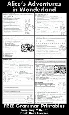Alice's Adventure in Wonderland FREE Grammar Printables