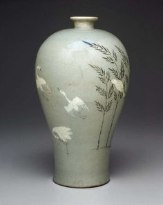 Prunus Vase with Inlaid Bamboo & Cranes - 청자상감죽조문매병, 靑瓷象嵌竹鳥文梅甁 - Korean, Goryeo Dynasty, early 13th century. Stoneware with celadon glaze.