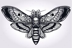 Deaths Head Hawk Moth Hand Drawn Silhouette. #drawing #magic Download : https://graphicriver.net/item/deaths-head-hawk-moth-hand-drawn-silhouette-/13633858?ref=pxcr