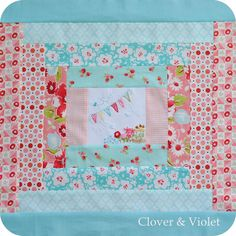 sweet teensy embroidery in the center square ~ clover and violet
