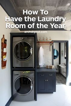 """""""The washer and dryer units are very deep, so I chose to stack them in the deepest corner of the room,"""" says Triano. """"This saved floor space and allowed me turn an ordinary laundry room into a space with multiple functions, or a 'family command center' as Home, Small Room Bedroom, Bedroom Design, Laundry Room, Room Storage Diy, Laundry, Small Room Design, Room Makeover, Room Design"""