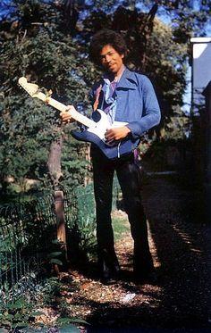 Jimi Hendrix at Samarkand Hotel in London, 1970.