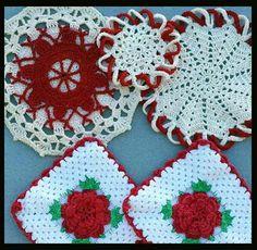 Vintage Crochet Hot Pad / Pan Holders / 1950s Hand Crochet