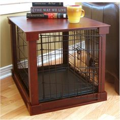 Dog Crate With Wooden Cover