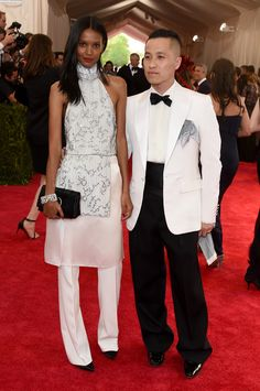 Liya Kebede in 3.1 Phillip Lim and Phillip Lim - Does it help that Liya has the longest, most elegant swan neck? Yes. But the super high collar and cut-through-air sharp trouser pleat are still an awesome top-and-tail combo.
