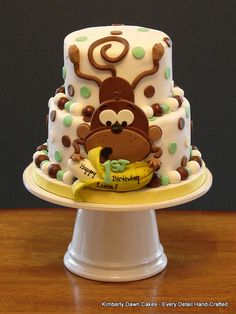 Monkey Cake by Kimberly Dawn Cakes, adorable Pretty Cakes, Cute Cakes, Yummy Cakes, Crazy Cakes, Fancy Cakes, Fondant Cakes, Cupcake Cakes, Kid Cakes, Super Torte