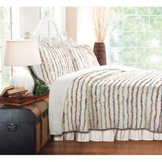Bella Multicolor Ruffled Floral-print Oversized 3-piece Cotton Quilt Set - Overstock™ Shopping - Great Deals on Quilts