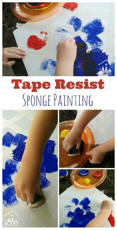 Do your kids enjoy Tape Resist Art? If so, then they will love our new twist on it. Perfect for kids of all ages to work on together. Try our Tape Resist Sponge Painting activity today.