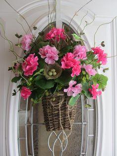 Spring Wreath Outdoor Wreath Geranium by DoorWreathsByDesign