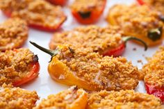 Baked Jalapeno Bacon Poppers recipe from Steamy Kitchen. Ingredients: 10 mini sweet peppers or jalapeno peppers, 3 strips bacon, 1 eight-ounce package cream cheese, 1 cup shredded cheddar ch. Baked Appetizer Recipes, Finger Food Appetizers, Bacon Recipes, Mexican Food Recipes, Healthy Recipes, Bacon Appetizers, Fun Recipes, Simple Recipes, Recipies