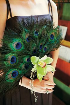 Bridal or Bridesmaid Bouquet with peacock feathers