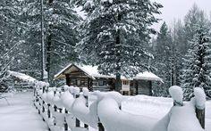 Hut in het bos in de sneeuw
