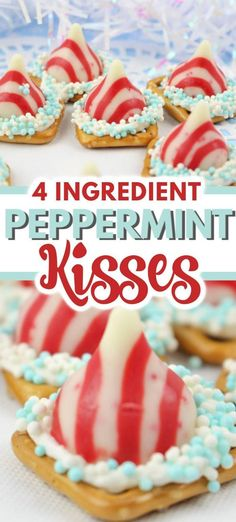 This is such a simple dessert recipe! Only 4 ingredients needed for these peppermint kisses! This is such a simple dessert recipe! Only 4 ingredients needed for these peppermint kisses! Pretzel Desserts, New Year's Desserts, Christmas Desserts Easy, Homemade Desserts, Dessert Recipes, Christmas Recipes, Christmas Cookies, Winter Desserts, Christmas Treats