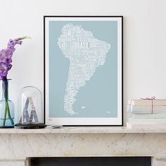 South America Type Map by Bold & Noble #MONOQI