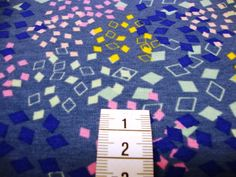"""Kinderstoffe - Jersey """"bunte Quatrate"""" jeansblau - ein Designerstück von MODEATELIER-HILDEGARD bei DaWanda"""