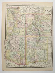 Southwest Us Map 1888 Arizona Map New Mexico Colorado Map Utah Southwestern Decor Historical Map Vintage Pastel Map Office Decor Gift