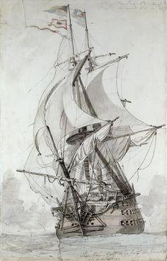 Croquis de Philippe-Jacques de Loutherbourg pour son tableau sur la bataille du 13 prairial an II. Le vaisseau représenté est donc l'Océan, vaisseau trois-ponts de 118 canons type Sané-Borda.
