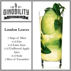 London Leaves Gin Drink. Recommended with Caorunn Gin http://ginobility.de/caorunn-small-batch-gin-0-7l-online-kaufen.html  #ginobility #gin #cocktail