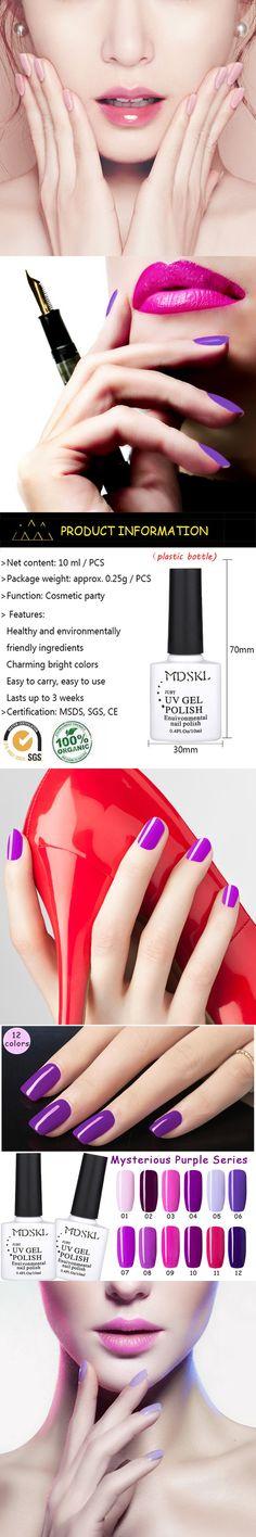 MDSKL 12Colors Romantic Purple Series UV Gel Nail Polish Varnish Gel Polish Nail Art Manicure 10ML