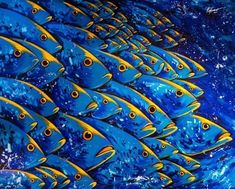 Viviendo en Aguas Azules Large acrylic painting Depicting tropical fish faces with human like eyes Vivid bright bold colors ArtsyHome Colorful Fish, Tropical Fish, Modern Tropical, Yellow Artwork, Fish Face, Acrylic Artwork, Acrylic Painting Animals, Large Painting, Painting Abstract