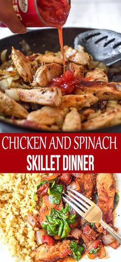 Chicken and Spinach Skillet Dinner is an easy delicious dinner you can have on the table in no time at all. Chicken and Spinach Skillet Dinner is an easy delicious dinner you can have on the table in no time at all. Spinach Recipes, Chicken Recipes, Healthy Chicken, Clean Eating Snacks, Healthy Eating, Healthy Dinner Recipes, Cooking Recipes, Skillet Dinners, Easy Skillet Dinner