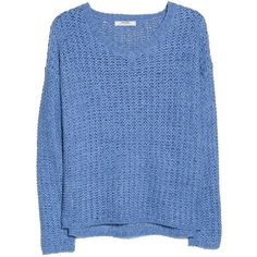 Mango Openwork sweater ($9.11) ❤ liked on Polyvore featuring tops, sweaters, shirts, clothing - ls tops, blue, clearance, long sleeve sweater, blue shirt, acrylic v neck sweater and shirt sweater