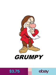 Grumpy Snow White & the 7 Dwarfs Printable Iron On Transfer or Use as Clip Art - DIY Disney Shirt Matching Shirts Seven Dwarfs Vacation by TheWallabyWay on Etsy Embroidery Shop, Embroidery Files, Machine Embroidery Designs, Grumpy Dwarf, Disney Paintings, Disney Diy, Disney Shirts, Movie Characters, Disney Inspired