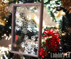Ladybird Ln: Create beautiful one of a kind ornaments using a thrift store frame and glass paint!