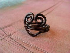 Swirly Heart Wire Ring Custom Made by RefreshingDesigns