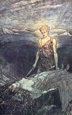 Siegfried comes upon the sleeping Brünnhilde  From: Wagner, Richard (translated by Margaret Amour) Siegfried and the Twilight of the Gods. 1911  Wikipedia Commons