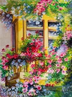 Balcony Window ~ Margarita Rosa Gómez