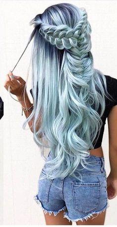 Cute Hair Colors, Pretty Hair Color, Beautiful Hair Color, Hair Dye Colors, Hair Color Blue, Feeling Beautiful, Green Hair, Pretty Hairstyles, Braided Hairstyles